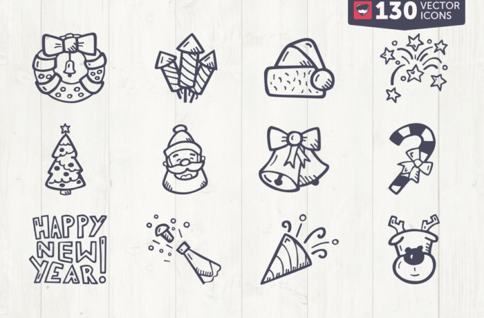 Christmas and New Years Icons Vector Premium Clip Art