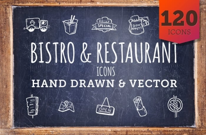 Bistro and Restaurant Icons - Hand Drawn Icons - cover