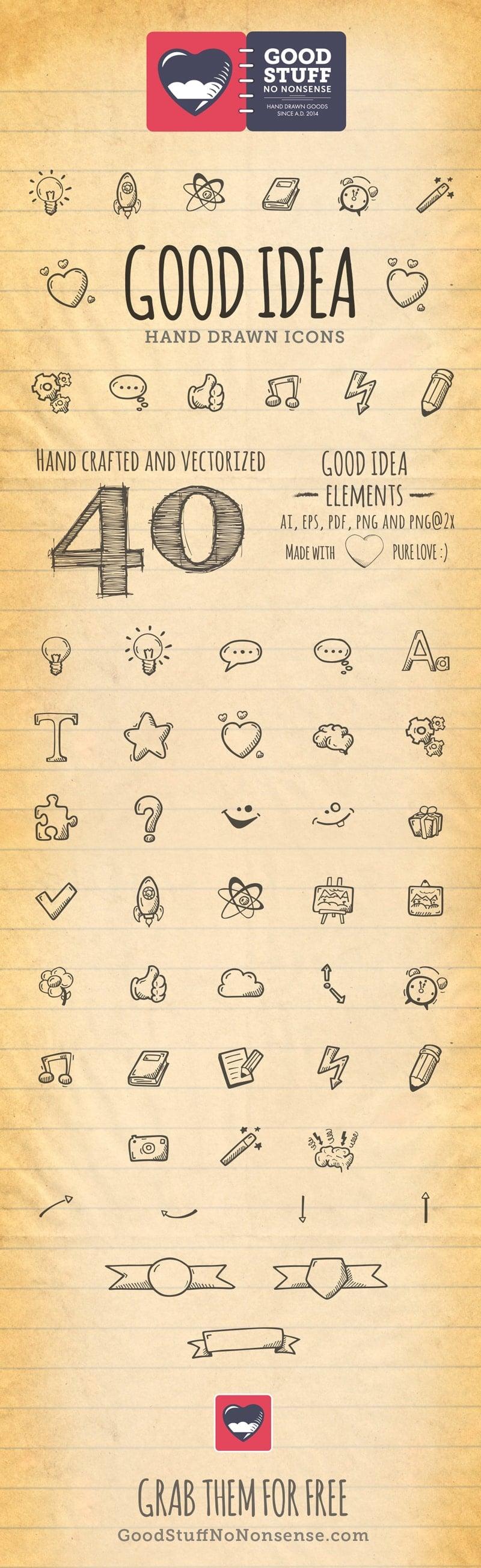 Free Good Idea Icons - Hand Drawn Icons