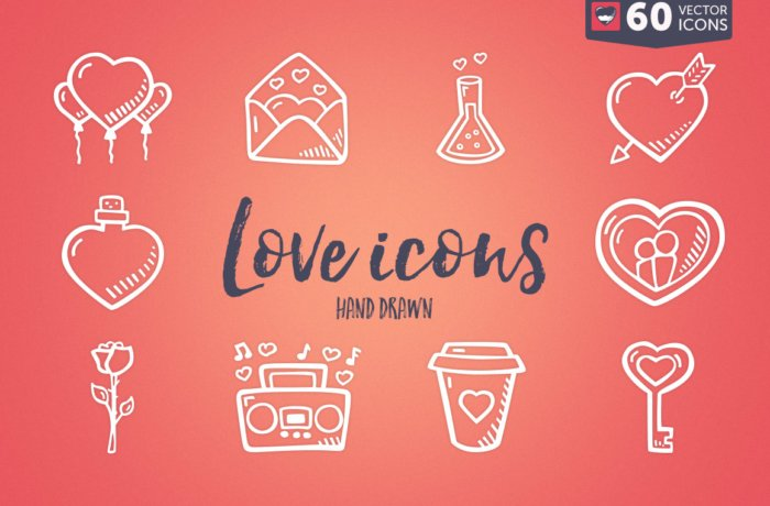 Valentines Day Icon Pack - Hand Drawn Icons - Cover