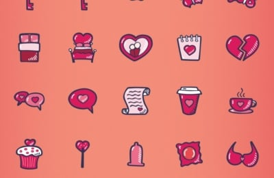 Valentines Day Icon Pack - Hand Drawn Icons - Color