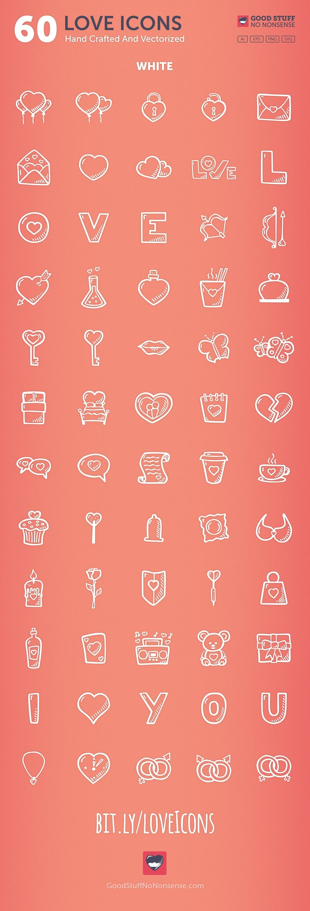 Love Vector Icon Pack Hand Drawn Icons White