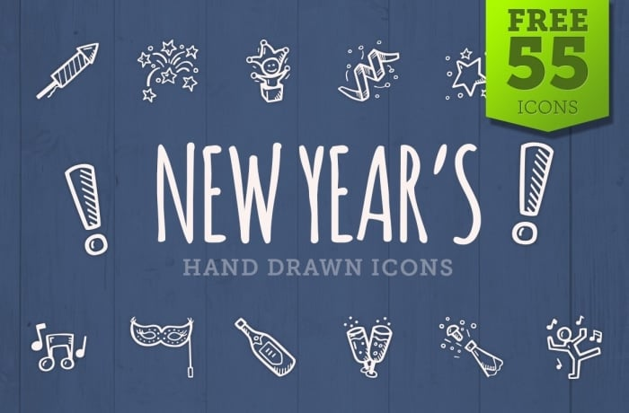 Free New Years Icons - Hand Drawn Icons - Cover