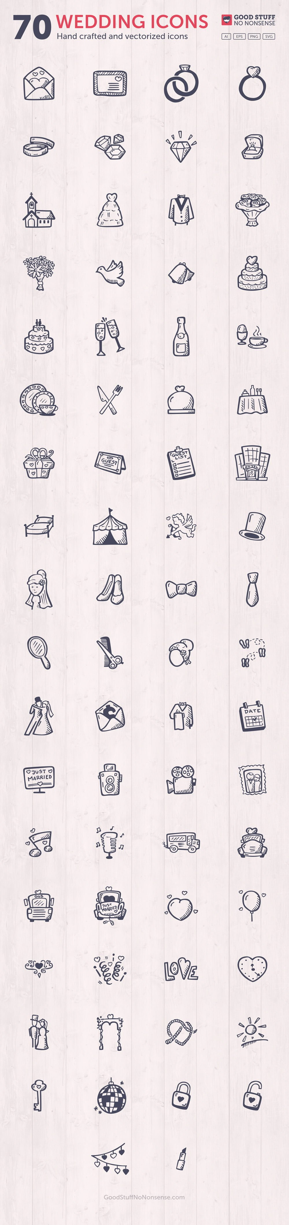 Wedding Icons Vector Premium Collection - Hand Drawn Icons