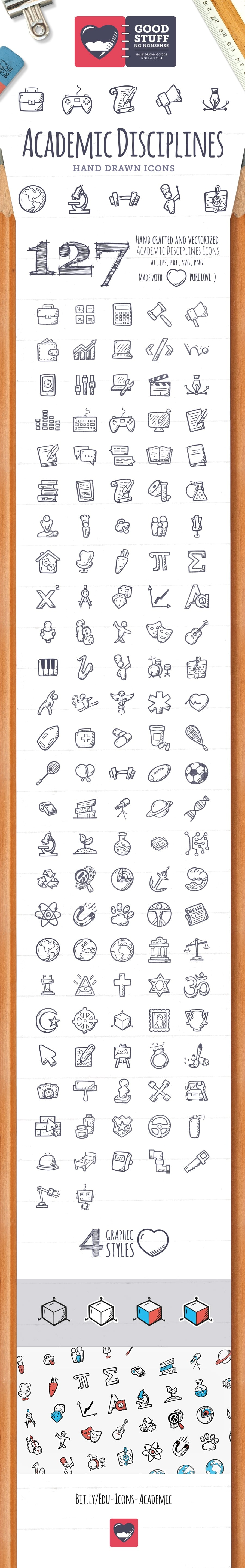 Academic Disciplines Icons - Hand Drawn Icons