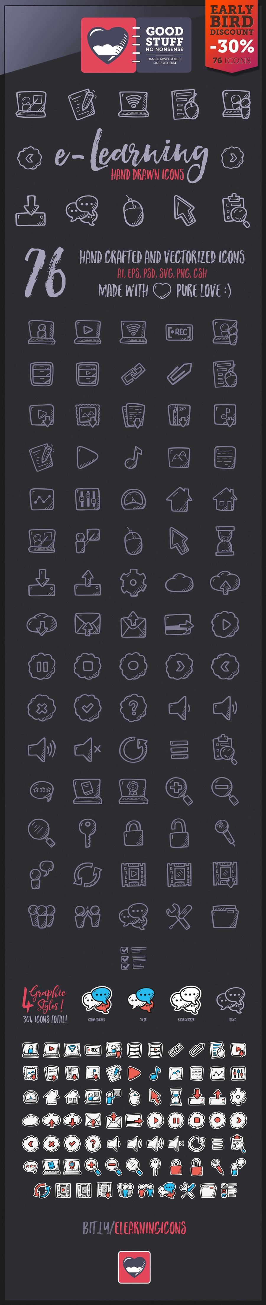 E-learning Icons - Hand Drawn Icons