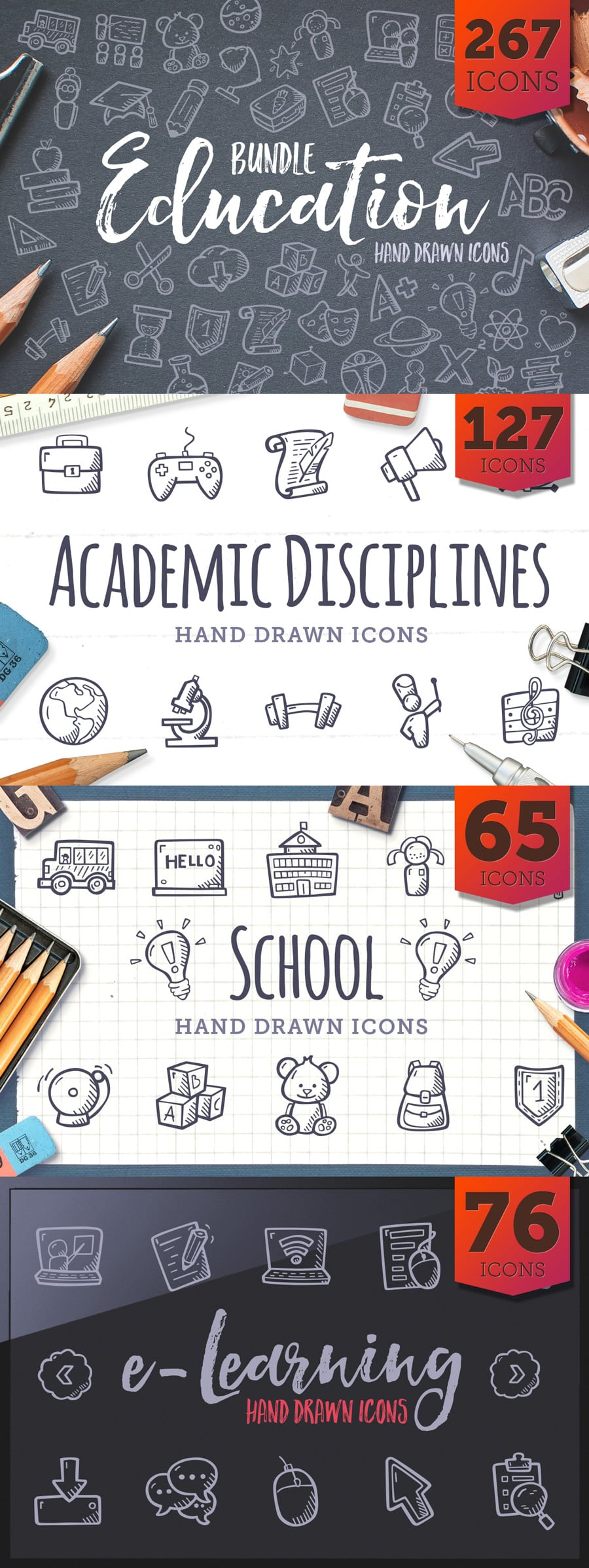 Education Bundle Icons - Hand Drawn Icons