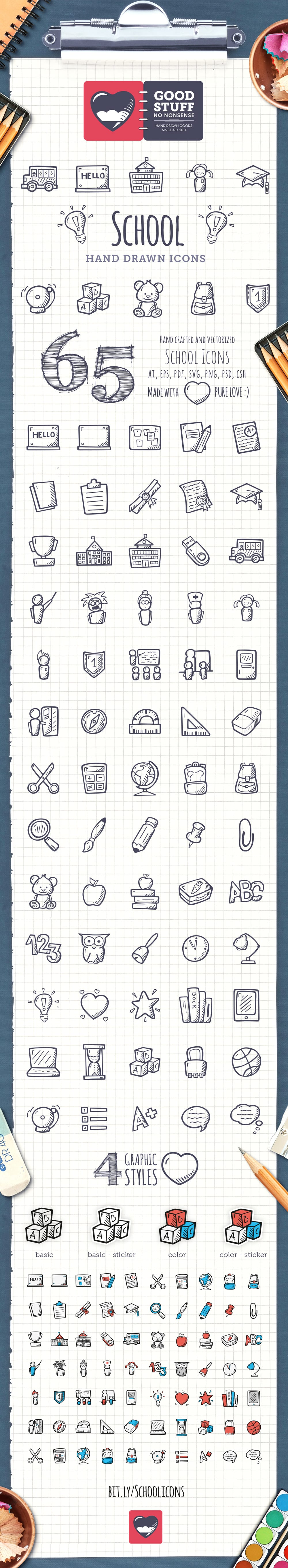 School Icons - Hand Drawn Icons