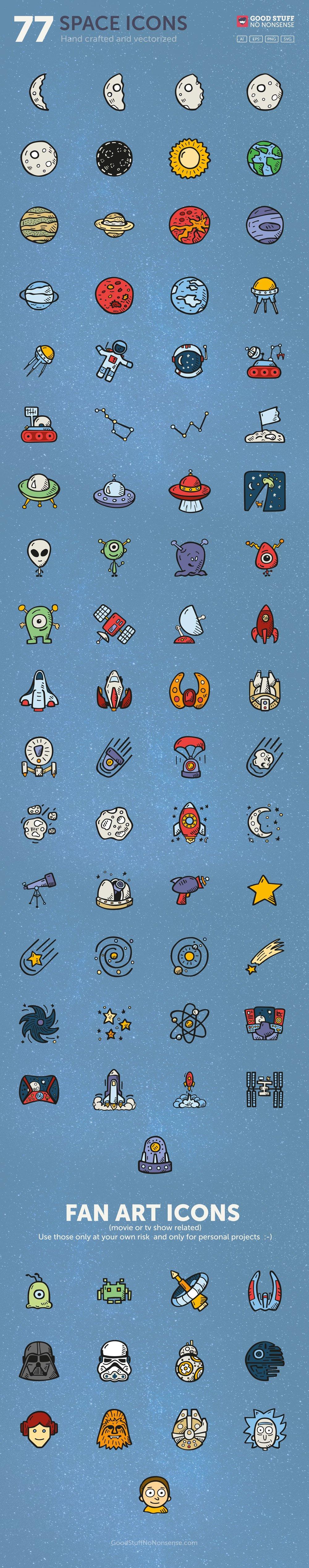 Free Space Icons - Hand Drawn Icons - Good Stuff No Nonsense