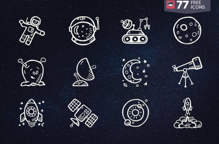 Space Icons Vector Free Hand Drawn Icons